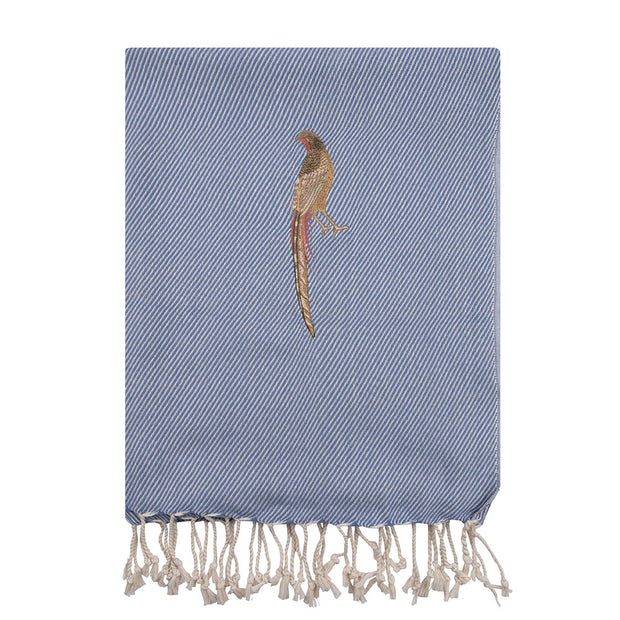 Le Voyage Hand loomed Hammam Towel | The Pheasant in Blue