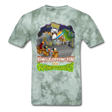 Load image into Gallery viewer, King Cotton Top vs Grasshoppersaurus - military green tie dye