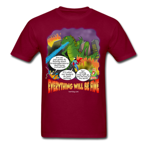 Grasshoppersaurus Everything Will Be Fine Text - burgundy