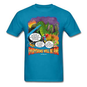 Grasshoppersaurus Everything Will Be Fine Text - turquoise