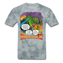 Load image into Gallery viewer, Grasshoppersaurus Everything Will Be Fine Text - grey tie dye