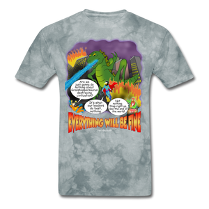 Grasshoppersaurus Everything Will Be Fine Text - grey tie dye