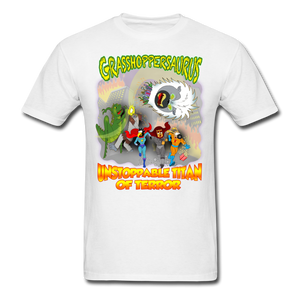 Grasshoppersaurus vs King Cotton Top - white