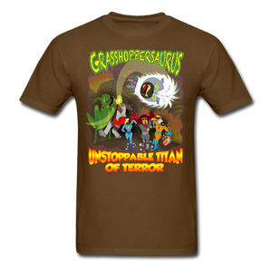 Grasshoppersaurus vs King Cotton Top - brown