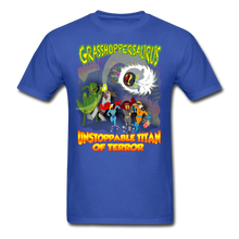 Load image into Gallery viewer, Grasshoppersaurus vs King Cotton Top - royal blue