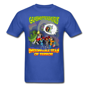 Grasshoppersaurus vs King Cotton Top - royal blue
