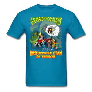 Grasshoppersaurus vs King Cotton Top - turquoise