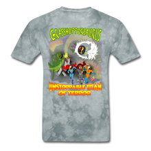 Load image into Gallery viewer, Grasshoppersaurus vs King Cotton Top - grey tie dye