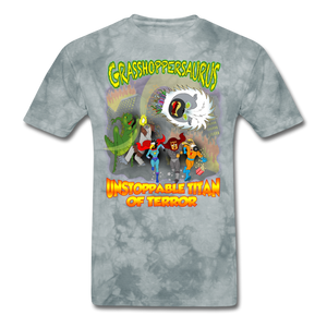 Grasshoppersaurus vs King Cotton Top - grey tie dye
