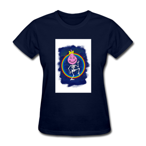 Cute Oil Oily Pink Rainbow Girl - navy