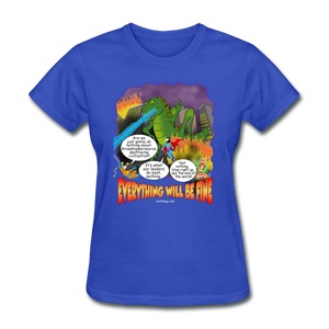Grasshoppersaurus Everything Will Be Fine Text - royal blue