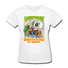 Load image into Gallery viewer, Grasshoppersaurus vs King Cotton Top - white