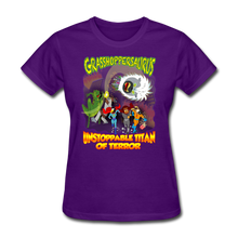 Load image into Gallery viewer, Grasshoppersaurus vs King Cotton Top - purple