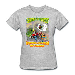 Grasshoppersaurus vs King Cotton Top - heather gray