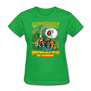 Grasshoppersaurus vs King Cotton Top - bright green