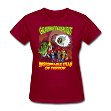 Load image into Gallery viewer, Grasshoppersaurus vs King Cotton Top - dark red