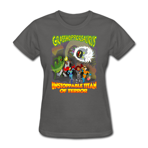 Grasshoppersaurus vs King Cotton Top - charcoal