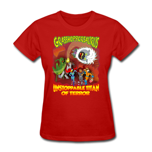 Grasshoppersaurus vs King Cotton Top - red
