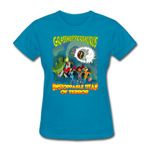 Load image into Gallery viewer, Grasshoppersaurus vs King Cotton Top - turquoise