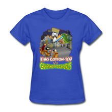 Load image into Gallery viewer, King Cotton Top vs Grasshoppersaurus - royal blue