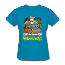 Load image into Gallery viewer, King Cotton Top vs Grasshoppersaurus - turquoise