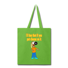 Load image into Gallery viewer, Rantdog Put Cheese On It - Tote Bag - lime green