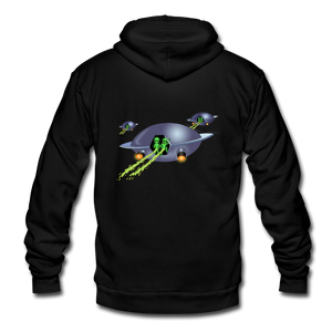 Alien Pee - Unisex Fleece Zip Hoodie - black