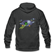 Load image into Gallery viewer, Alien Pee - Unisex Fleece Zip Hoodie - charcoal gray