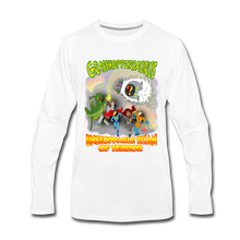 Load image into Gallery viewer, Grasshoppersaurus vs King Cotton Top - Men's Premium Long Sleeve T-Shirt - white