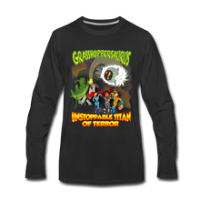 Load image into Gallery viewer, Grasshoppersaurus vs King Cotton Top - Men's Premium Long Sleeve T-Shirt - black