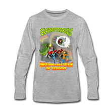 Load image into Gallery viewer, Grasshoppersaurus vs King Cotton Top - Men's Premium Long Sleeve T-Shirt - heather gray