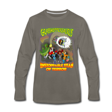 Load image into Gallery viewer, Grasshoppersaurus vs King Cotton Top - Men's Premium Long Sleeve T-Shirt - asphalt gray