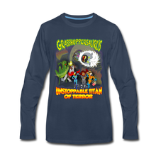 Load image into Gallery viewer, Grasshoppersaurus vs King Cotton Top - Men's Premium Long Sleeve T-Shirt - navy