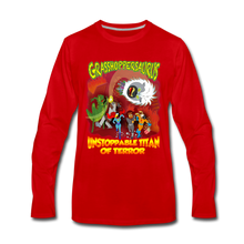 Load image into Gallery viewer, Grasshoppersaurus vs King Cotton Top - Men's Premium Long Sleeve T-Shirt - red