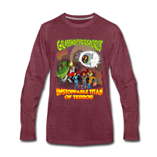 Load image into Gallery viewer, Grasshoppersaurus vs King Cotton Top - Men's Premium Long Sleeve T-Shirt - heather burgundy