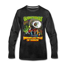 Load image into Gallery viewer, Grasshoppersaurus vs King Cotton Top - Men's Premium Long Sleeve T-Shirt - charcoal gray