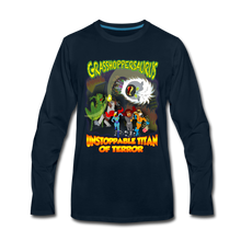 Load image into Gallery viewer, Grasshoppersaurus vs King Cotton Top - Men's Premium Long Sleeve T-Shirt - deep navy