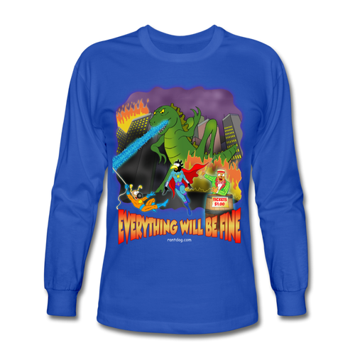 Grasshoppersaurus Everything Wiil Be Ok No Text - Men's Long Sleeve T-Shirt - royal blue