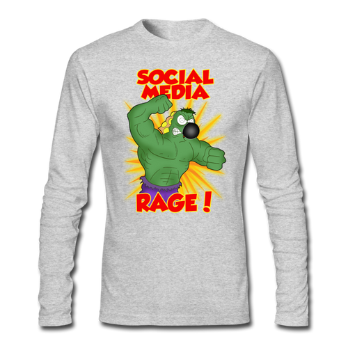 Social Media Rage - Men's Long Sleeve T-Shirt by Next Level - heather gray