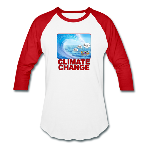 Climate Change - Baseball T-Shirt - white/red