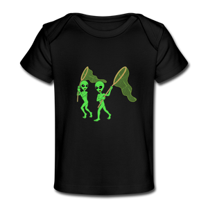 Space Alien Hunting - Organic Baby T-Shirt - black