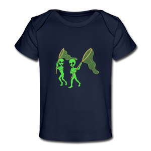 Space Alien Hunting - Organic Baby T-Shirt - dark navy