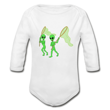 Load image into Gallery viewer, Space Alien Hunting - Organic Long Sleeve Baby Bodysuit - white