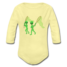Load image into Gallery viewer, Space Alien Hunting - Organic Long Sleeve Baby Bodysuit - washed yellow