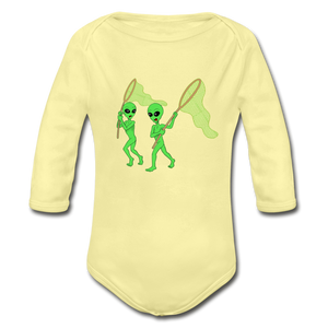 Space Alien Hunting - Organic Long Sleeve Baby Bodysuit - washed yellow