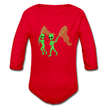 Load image into Gallery viewer, Space Alien Hunting - Organic Long Sleeve Baby Bodysuit - red