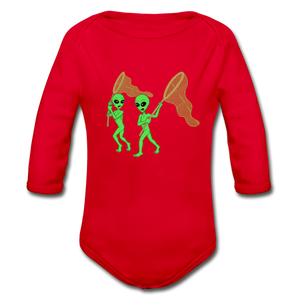Space Alien Hunting - Organic Long Sleeve Baby Bodysuit - red