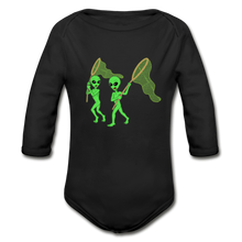 Load image into Gallery viewer, Space Alien Hunting - Organic Long Sleeve Baby Bodysuit - black