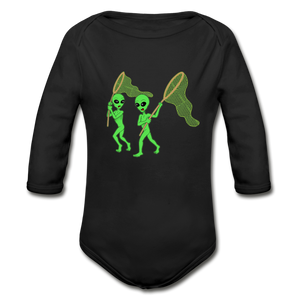 Space Alien Hunting - Organic Long Sleeve Baby Bodysuit - black