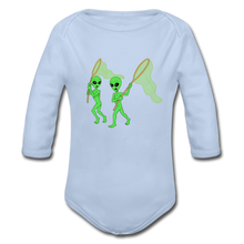 Load image into Gallery viewer, Space Alien Hunting - Organic Long Sleeve Baby Bodysuit - sky